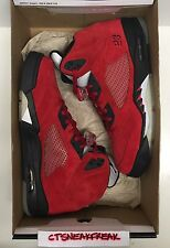Nike Air Jordan 5 Retro Raging Bull Size 12 Red Suede Black White 360968-991