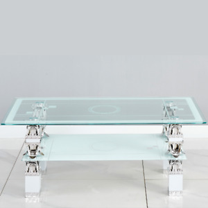 LX Glass Coffee Table With Storage Shelf Rectangle Modern Living Room Furniture