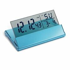 Digital LCD Display Alarm Clock Folding With Aluminium Case Blue