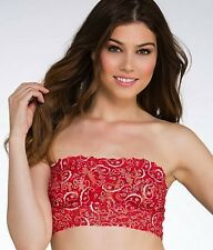 HANKY PANKY #3M7102  LACE LINED BANDANA  BANDEAU, medium, RED, NWOT $48