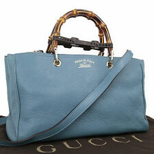 Gucci Bamboo Shopper Midium 2WAY Tote Bag Leather Blue 323660 Authentic #2181
