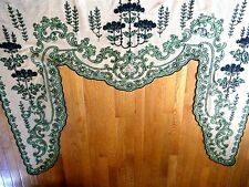19c Antique French Victorian VALANCE tambour embroidery lace on mesh &applique