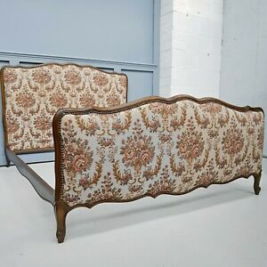 Floral Tapestry Print French Upholstered Oak Double Bed