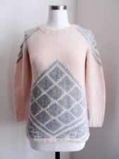 J.Crew Handknit Tile Sweater Top XS 0 2 Mist Grey Cashmere Wool Blend Tan $158