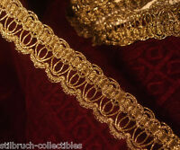 "Antique vintage gold metallic ribbon braid lace trim loops lamp shade 1-1/8"" BTY"