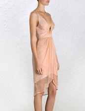 Zimmermann Rhythm Plunge Tuck Wrap Drape Dress Size 2, RRP $595. Rare!