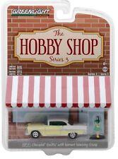 1:64 GreenLight *HOBBY SHOP 3* Yellow & White 1955 Chevrolet w/Woman Figure  NIP