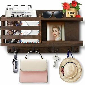 Key Holder Wall Mounted Organizer Mail Rack Key Hooks Wooden Home Decor Brown