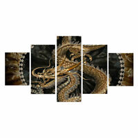 HD Printed 5 Piece Canvas Art Chinese Dragon Painting Livingroom Wall Decor