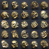 Wholesale 50pcs Mix Lot Big Skull Silver Men's Rings Fashion Jewelry Biker Punk