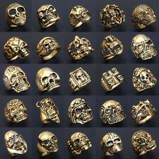 Wholesale 50pcs Mix Lot Big Skull Silver Men's Rings Fashion Jewelry Biker Punk