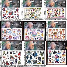 Cartoon Kids Temporary Tattoos Stickers Sheet Party Favour Bags 1, 3 or 5 sheets