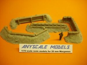 Wargames scenery. 4 piece Earthworks/Emplacements set 1/72 for 20mm (0248)