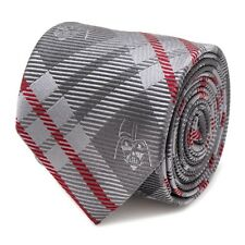 Darth Vader Necktie STAR WARS Grey Red PLAID 100% SILK Mens
