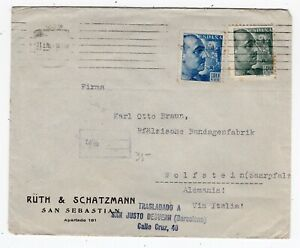 Spain 1940 Dual Censor - WWII / Civil War - Cover to Germany -