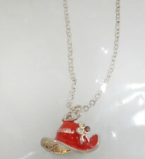 RED PURPLE ENAMEL SILVERTONE RED HAT NECKLACE FOR RED HAT LADIES OF SOCIETY