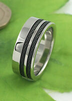 Gatik AR7600 Gents 316L Stainless Steel Channel Set Cable 9mm Band Ring