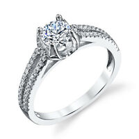 925 Sterling Silver CZ Engagement Wedding Ring Pave Set with Cubic Zirconias