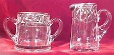 Colonial Lady Sugar & Creamer Silver Overlay Elegant Glass Clear Vintage