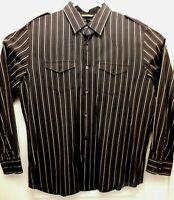 BANANA REPUBLIC MENS SLIM FIT 17-17.5 XL LONG SLEEVE STRIPED DRESS SHIRT (B3009)