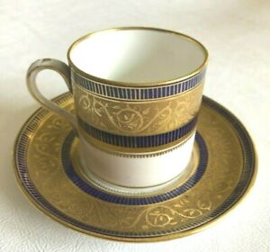 Balmoral China Demitasse-Coffee Cup & Saucer England c1902-33 Cobalt Blue & Gold