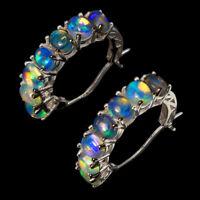 Unheated Oval Fire Opal Hot Rainbow Luster 5x4mm Cz 925 Sterling Silver Earrings