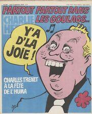 """CHARLIE HEBDO N°460 du 6/9/1979"" CABU: CHARLES TRENET A LA FÊTE DE L'HUMA"