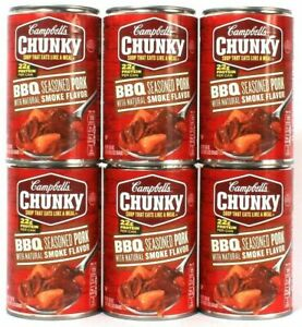 (6 Cans) Campbell's Chunky BBQ Seasoned Pork Natural Smoke Flavor Soup 18.8 Oz