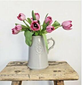 Grey Ceramic  Fleur De Lis Jug Shabby Chic Vintage Style Vase Flowers  19cm