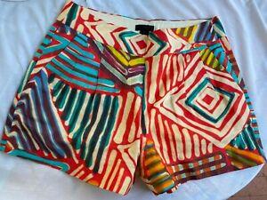 J CREW Geo Multi Color Brushstroke Womens Shorts Size 0 Pleated Side Zip Lined