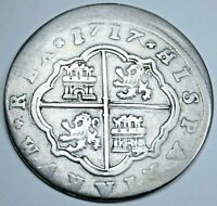 1717 Spanish Silver 2 Reales Antique Colonial 1700s Two Bit Pirate Treasure Coin