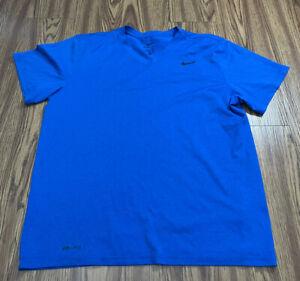 NIKE DRI-FIT MEN Large  Blue SHIRT Good Condition Crossfit V Neck Gym Dry