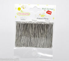 """5Packet(1500PC) Well Sorted Head SilverTone Pins5cm(2"""")"""