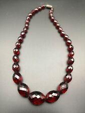 Antique Faceted Amber Bakelite Necklace 34g
