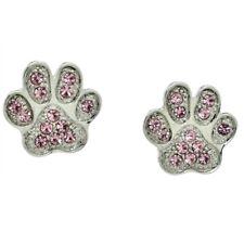 W Swarovski Crystal Paw Dog Cat Kitty Pet Pawprint Jewelry Pink New Earrings