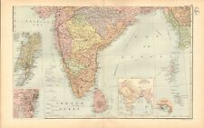1893 Antique Map - India South, Andaman Islands, Ceylon, Madras, Bombay