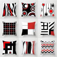 1X Geometric Black & White& Red Throw Pillow Case Waist Cushion Cover Home Decor