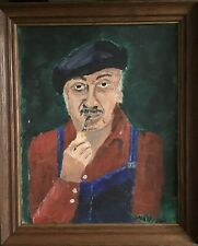 IMMIGRANT Smoking Pipe Mario Hand Painted Original Signed Wysocki Framed MCM Art
