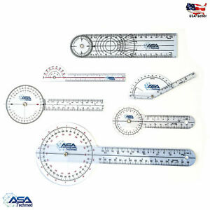 6pc 360° 12/8/6 Inch Medical Spinal Goniometer Angle Protractor Physical Therapy