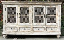 Rustic Shabby Chic White French Country Sideboard Wire Door Storage Cabinet