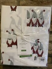Pottery Barn Gnome Organic Queen Size Sheet Set Holiday Christmas Bedding New