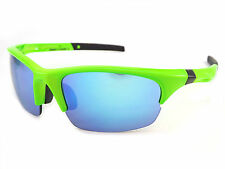 DIRTY DOG sports ECCO Sunglasses Fluro Green/ Blue Fusion Mirror Lenses 58065