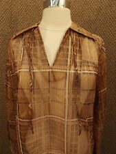 NOS NEW Vtg 70s Brown Gold Sheer Nylon Metallic Plaid Shirt 10 Boho Indie Casual