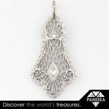 Antique Art Deco 14k White Gold Diamond Milgrain Filigree Pendant 0.05ctw