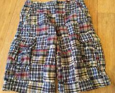 Boys Lands' End Plaid Patchwork Heavier Cotton ADJUSTABLE WAIST Shorts Size 14