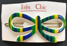 Vintage Hair Barrettes - Large Blue/Yellow/Green Bow Barrette - 60s design