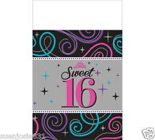 Sweet Sixteen Plastic Tablecover 1pc Sweet 16 Party Decoration Supplies