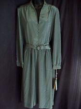 Vtg 70s Nwt Nos Wilroy Traveller Gunmetal Silver Gray Secretary Shirtwaist Dress