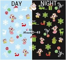 Nail Art Water Decals Glow in the Dark Christmas Dog Reindeer Snowflakes GID049