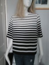 ATMOSPHERE - WHITE/BLACK STRIPED C-NECK S/SLEEVE,SUMMER T-SHIR Size 10